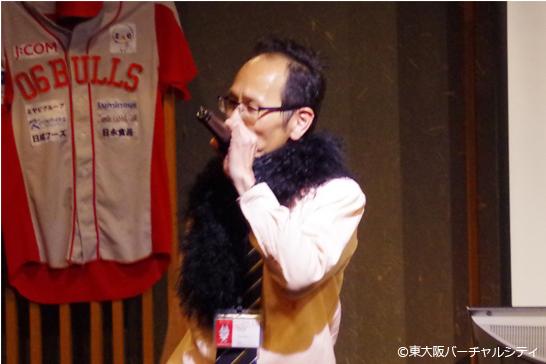 スタッフの永峰氏は「ガッチャマン」「さそり座の女」 06BULLS優勝祝勝会