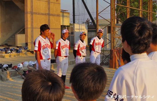 選手達から生徒へ一言ずつ 06BULLS 若江中学野球部訪問