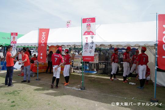 今年もJ:COMさんのブースで選手達がストラックアウトのお手伝い