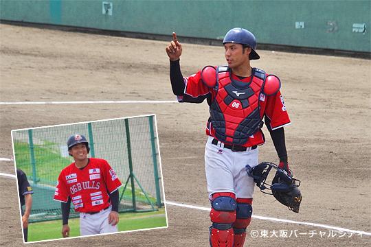 先制された後すぐさま田井がタイムリーで逆転打。