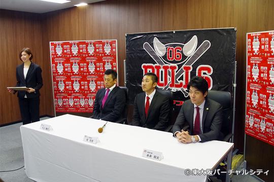 会見は球団代表の会社会議室で行われました。