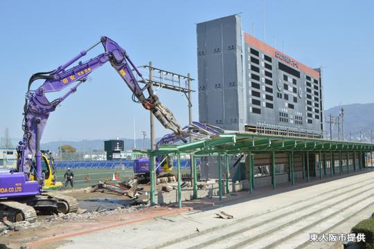 現在の花園ラグビー場 改修工事進捗