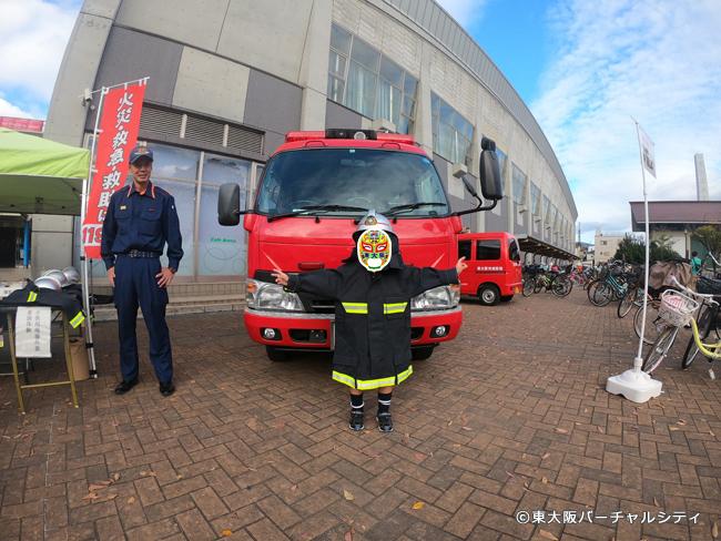 消防服を着て消防車と記念撮影も!