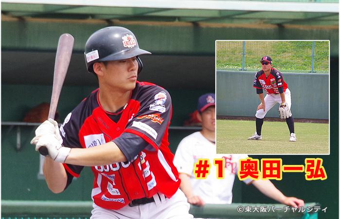 新人紹介:スタメン出場の #1 奥田一弘。兵庫県出身23歳です。セールスポイントは「走攻守」