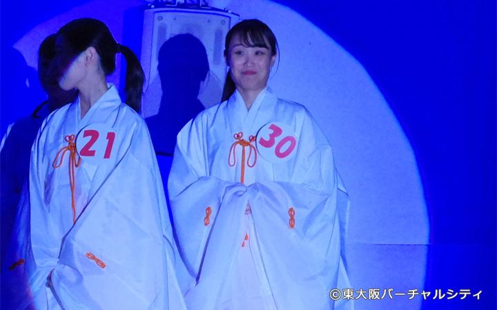ミス福娘に選ばれたのはエントリーNo30 野口明香里さん。選ばれた瞬間驚きの表情